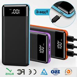 500000mAh Portable Power Bank 3USB LCD External Battery Char