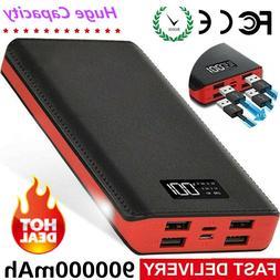 900000mAh Portable Power Bank 4USB External Battery Backup C