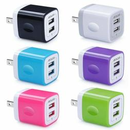 AILKIN 6Pcs 2.1Amp Dual Port Quick Phone Charger Wall Charge