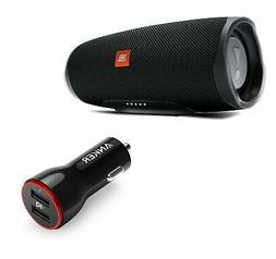 JBL Charge 4 Black Portable Bluetooth Speaker w/Anker Car Ch