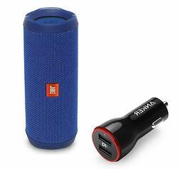 JBL FLIP 4 Blue Portable Bluetooth Speaker w/Anker 2-Port Ca
