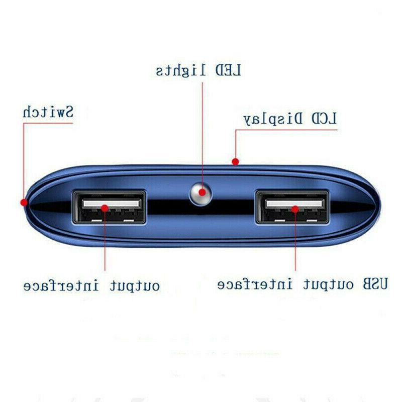 2000000mAh Portable Power LCD 2 USB External Battery for Phone