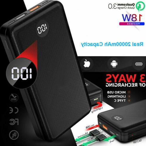 20000mah digtal portable power battery bank pack