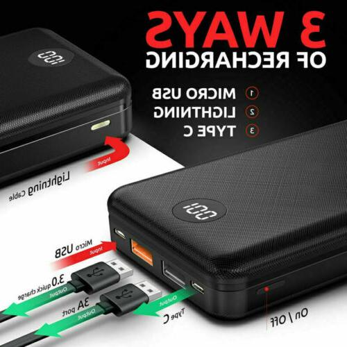 20000mAh Digtal Portable Power Battery PD/18W Fast Charger
