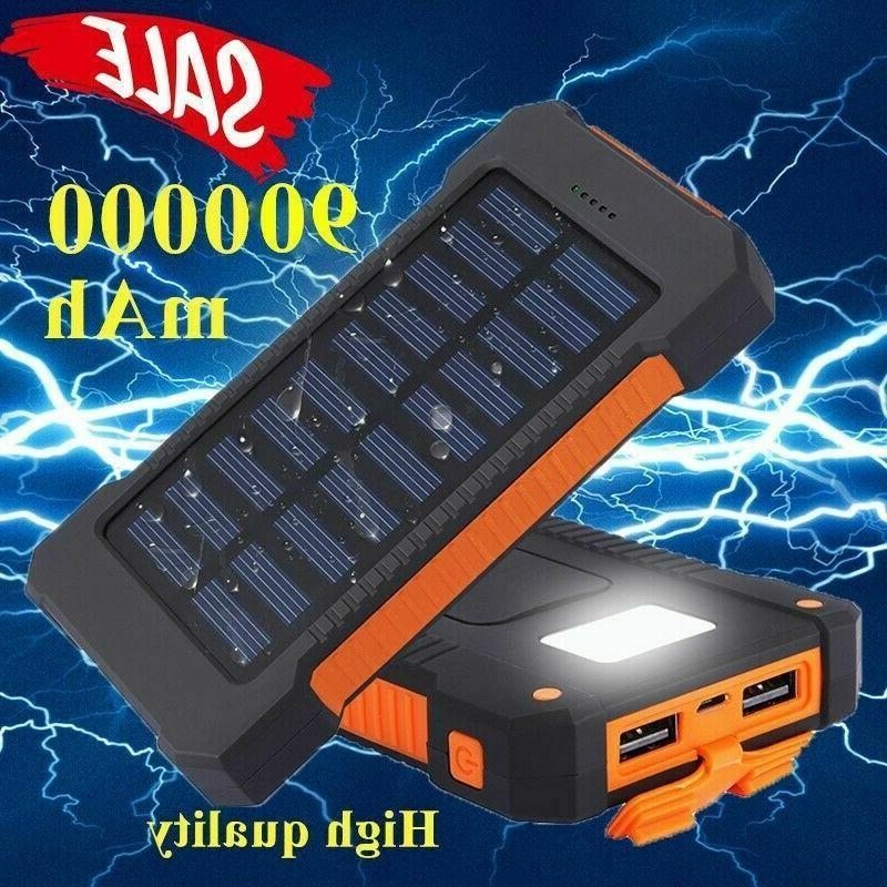 portable solar power bank 900000mah universal 2usb