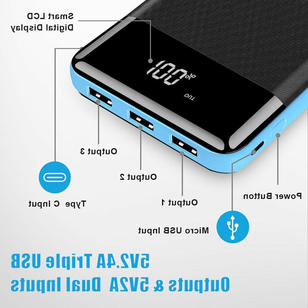 Portable 500000mAh Bank External 3 Battery Charger Phone
