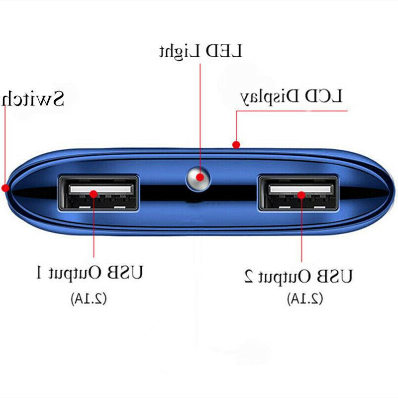 500000mAh Power 2 USB Charger External Phone