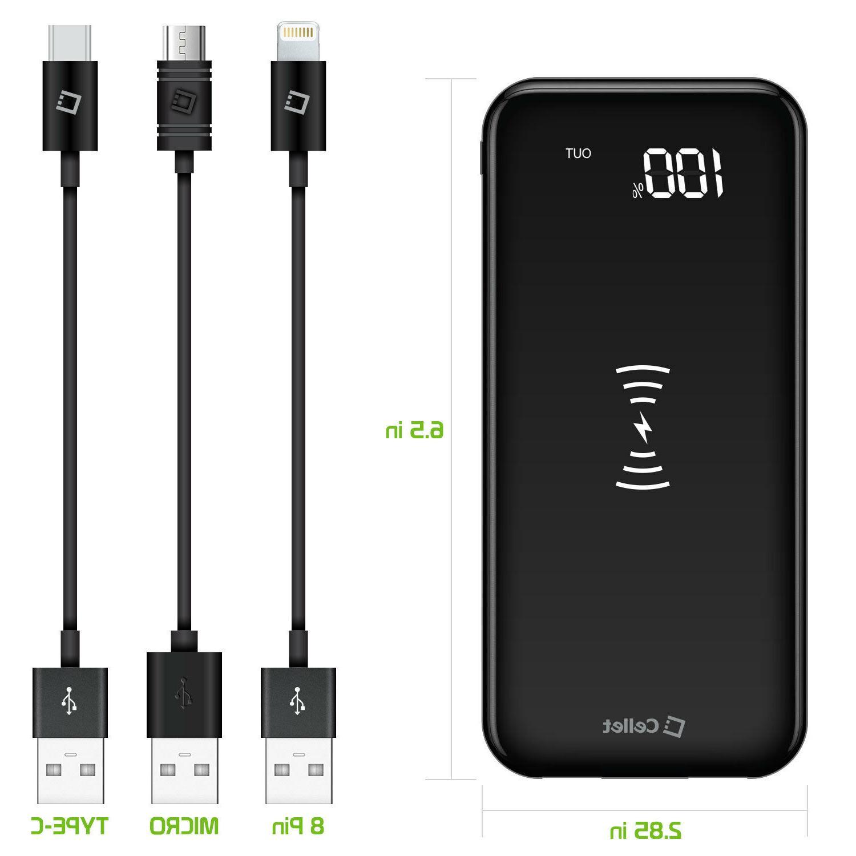 Portable 10,000mAh Power Bank USB Ports - USB-C Port
