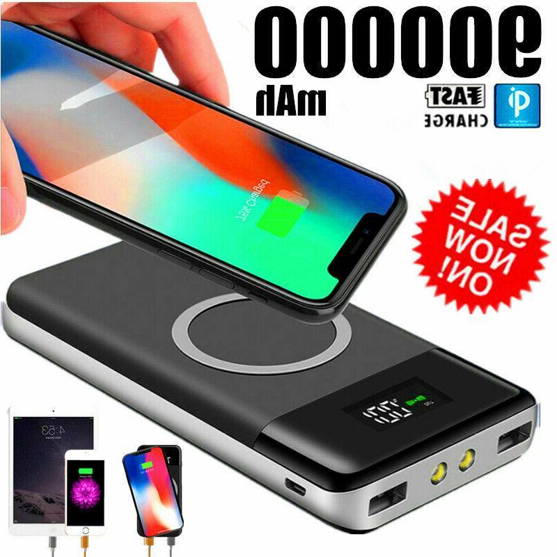 qi wireless power bank 900000mah backup fast