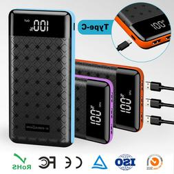 Portable 500000mAh LCD Power Bank External 3 USB Battery Cha