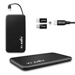 Power Bank Portable USB Charger with Built-In Cable and Ligh