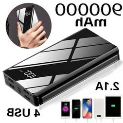 USA 900000mah Portable Power Bank LCD LED 4 USB Battery Char